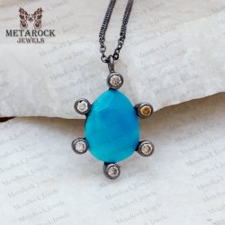 Turquoise & Diamond Silver Pendant