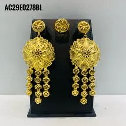 Golden Plated African Nigerian Necklace Set Bridal Fashion Earring Jewelry
