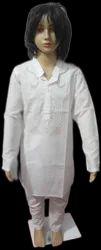 Casual Wear Machine Embroidery Kids Net Work Kurta Pyjama