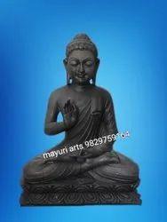 2 Feet Sitting Black Stone Buddha Statue
