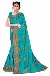 Janasya Women's Multicolor Vichitra Silk Embroidered Saree With Blouse Piece(AFLATOON-Pack of 4)