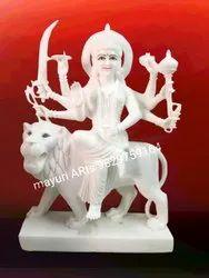 Lion Sitting Marble Durga Statue