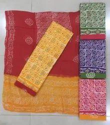 100% Cotton Batik Katha Work Dress Material