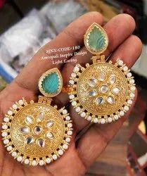 Copper Golden Traditional Designer Amrapali Earring For Women Jewellery, Box