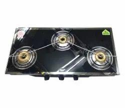 Lpg 3 Burner Mirror Glass Gas Stove, For Kitchen