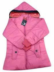 Plain Zipper Girls Pink Winter Jacket, Full Sleeves