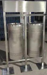 Stainless Steel Dustbin With Swing Lids