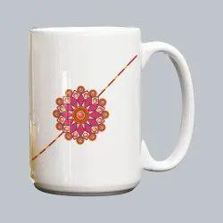 Raksha Bandhan Ceramic Printed Coffee Mug, For Gifting, Capacity: 325 ml