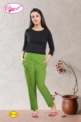 Casual Green Ladies Printed Cotton Lower