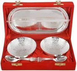 Brass Silver Plated Tray With Bowl Set For Corporate Gift
