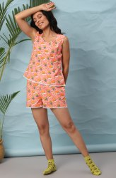 Janasya Women's Pink Cotton Night Suit Set(NW037)