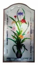 Multicolor Polished Flower Painted Decorative Glass, For Window, Thickness: 6 mm