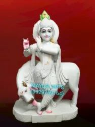 2 Feet Standing White Lord Krishna Statue