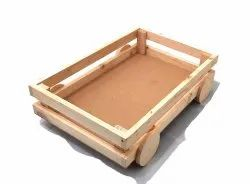Pinewood Tray with Wheels