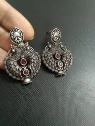 Brass Round Oxidized Earrings, For Indian Dresses, Size: Medium