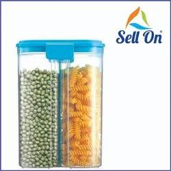 2 Section Space Saver Air Tight, PET Transparent Plastic Container For Grocery