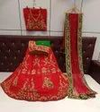 Silk With Velvet And Dori Embroidery Work Bridal Wear Lehenga Choli