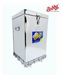 Bobby Brand 50 Kg Stainless Steel Rice Wheat Container With S.s. Trolley