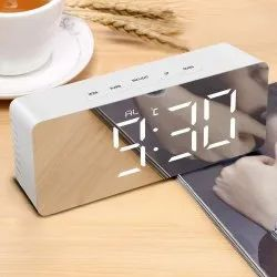 Digital Large LED Display Mirror with Snooze Time Temperature Function Alarm Clock