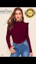 Dhunki Casual Wear Women Designer T Shirt, Size: M,Xl