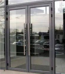 Hinged Plain Aluminium Glass Door, For Office, Thickness: 10mm