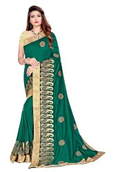 Janasya Women's Multicolor Vichitra Silk Embroidered Saree With Blouse Piece(FIZA-Pack of 4)