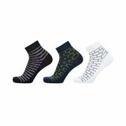 Cotton Ankle Printed Blue Black White Socks