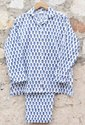 Blue Unisex Block Printed Cotton Full Sleeve Pajama Set