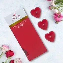 AuraDecor Heart Shape Acrylic Rose Fragrance Tealight ( Pack of 10 )