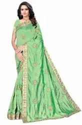 Janasya Women's Multicolor Vichitra Silk Embroidered Saree With Blouse Piece(JONPUR-Pack of 5)