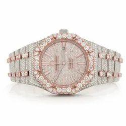 Moissanite Studded IcedOut Watch, 41mm Dial, EF/VVS Diamond, Wrist Watch 17