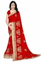 Janasya Women's Multicolor Vichitra Silk Embroidered Saree With Blouse Piece(BUTTER-Pack Of 4)