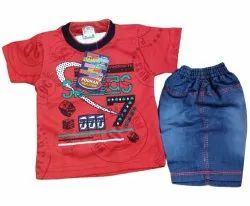 Poly Cotton and Denim Kids Red Baba Suit Set