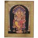 Lord Narasima With Lakshmi Ji Tanjore Painting On Paper Sheet