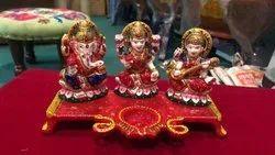 NirmalaHandicraftsExporter Metal Handpainted LakshmiGaneshaSaraswati Diya Pooja&Gift Handcraft Item