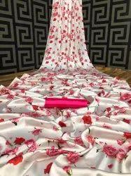 Shivkrupa Enterprise Printed Soft Satin Silk Japan Crepe Saree Collection, 6.3 m (with blouse piece)