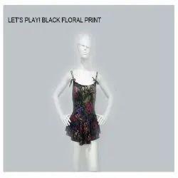 Black Floral Print Swimsuit