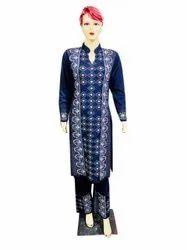 Party Wear Full Sleeve Ladies Navy Blue Woolen Kurti Palazzo Set, Size: Medium, Wash Care: Machine Wash