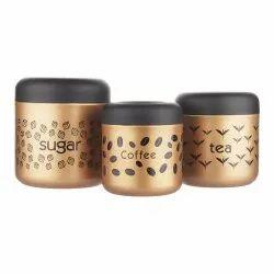 Tea Coffee Sugar Canister Set 3 Pcs