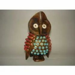 Wooden Carved Hand Painted Owl Statue Figure