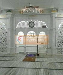 Carved Jhodhpur White Marble Mihrab Mosque