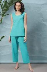 Janasya Women's Turquoise Blue Cotton Flex Night Suit Set(NW002)
