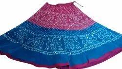 Bandhani Cotton Skirt  With Mirror Work