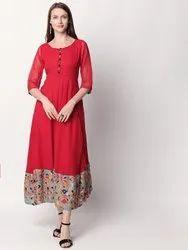 Casual Wear Straight Riyaz Gangji Libas Red Flared Kurti with Floral Bottom
