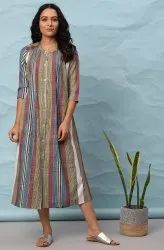 Janasya Women's Multicolor Cotton Western Dress(J0308)