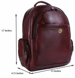 Leather Back Pack, Number Of Compartments: 5, Bag Capacity: 22 Liters