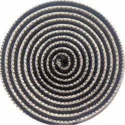 Black and Baggy Round Cotton Table Placemat, Size: 13inch