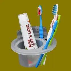Plastic White Tumbler Toothbrush Holder, For Bathroom Arranger, Number Of Holder: 1