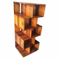 Brown Wooden Book Display Rack