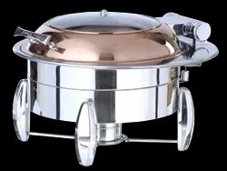 Grand Round Hydraulic Rose Gold Finished Induction Chafer AWS Feature